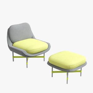 ottoman armchair baijings interior design 3D
