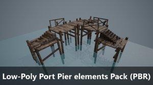3D low-poly port pier pack model