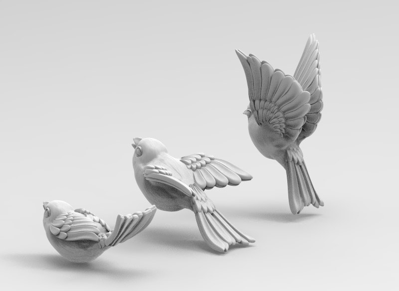 3D birds wings beak model