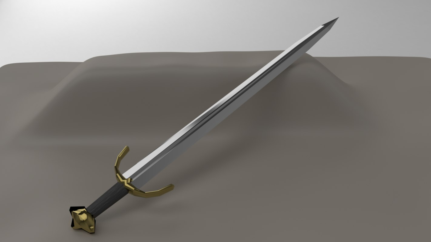 3D broad sword weapon model