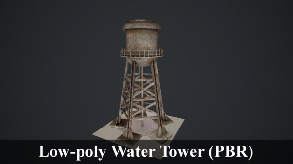 low-poly water tower model