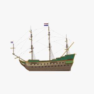 3D 17th-century dutch frigate model