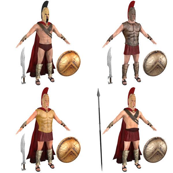 3D pack king spartan warriors model