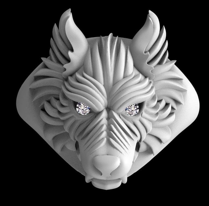 3D model wolf beast ring