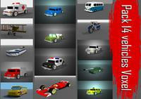 pack 14 vehicles voxel 3D model