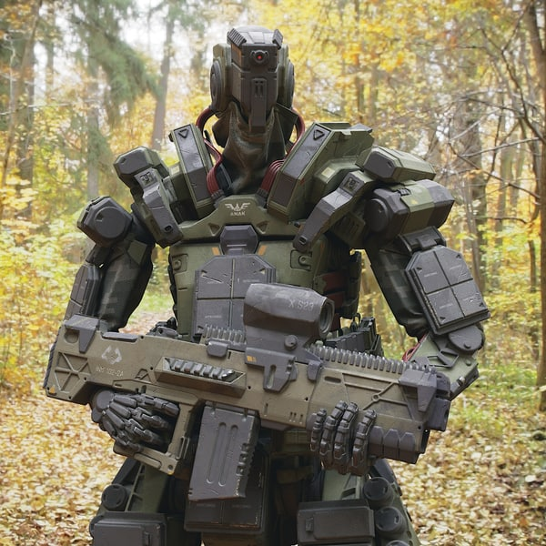 robot soldier character pbr 3D model