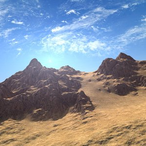 3D mountain range terrain model