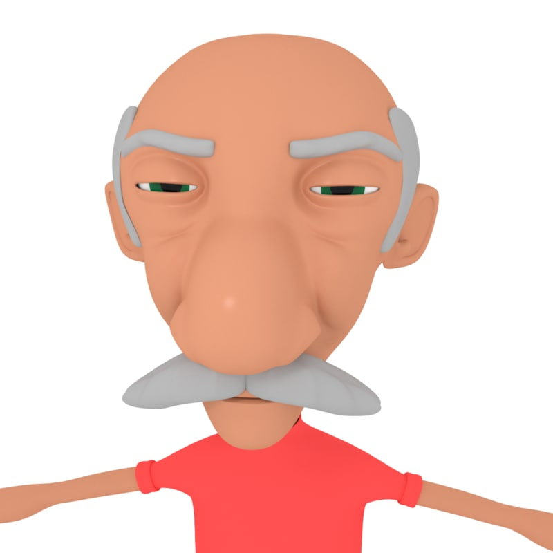 3D cartoon old man model