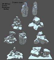 3D snow rock