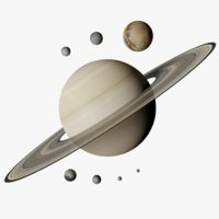 Saturn and 7 Moons Photorealistic