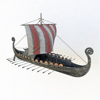 3D viking ship drakkar modeled