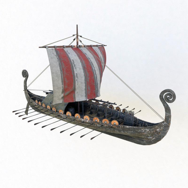 3D viking ship drakkar modeled