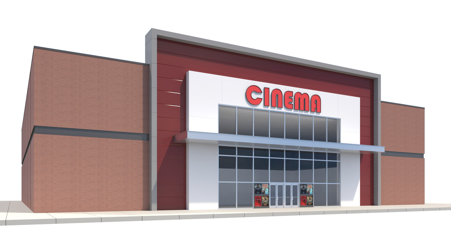 commercial movie theater building 3D model