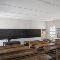 Photorealistic African Primary School Architecture Uganda Classroom V1