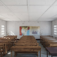 Photorealistic African Primary School Architecture Uganda Classroom V2