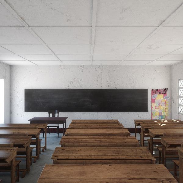 3D class room realistic