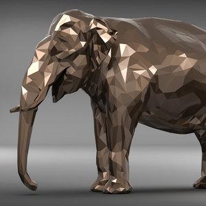 elephant polygonal 3D model