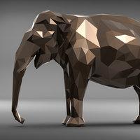 3D elephant polygonal 2