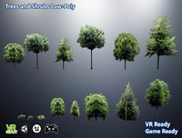 3D trees shrubs