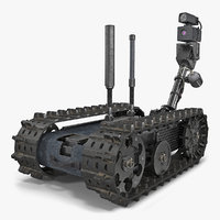 Multi Functional Tracked Military Robot Rigged 3D Model