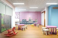 3D classroom class kids model