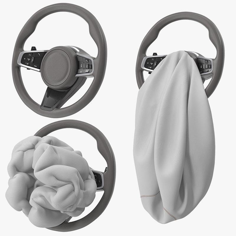 steering wheel airbag animation 3D model