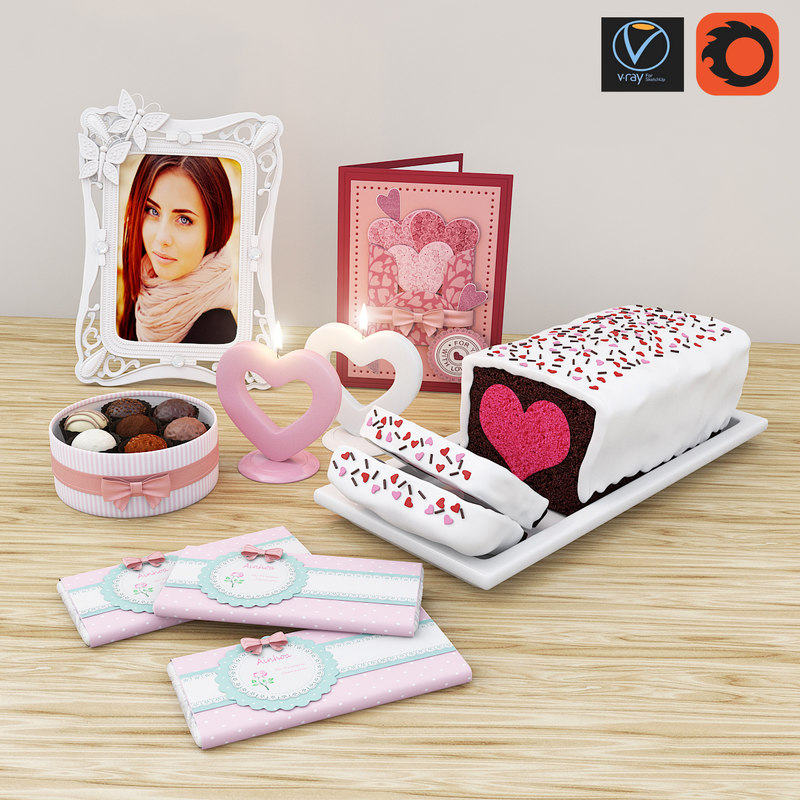 decor set valentine heart 3D model