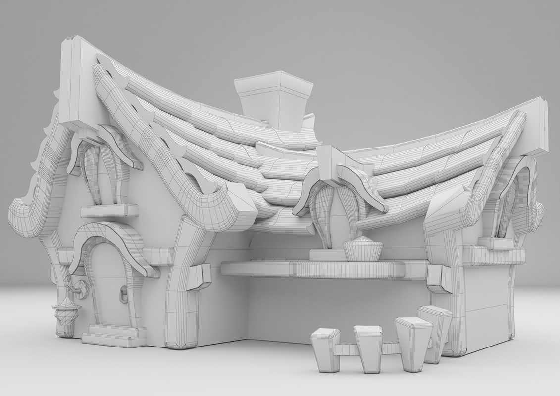 3D printable cartoon house print model