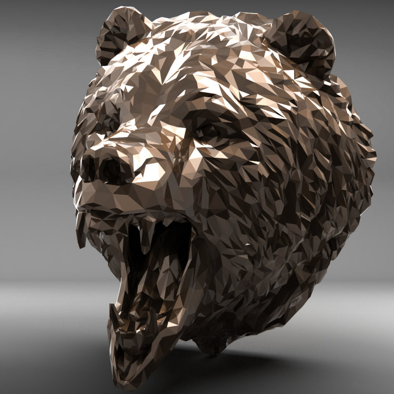 3D bear head polygonal 2