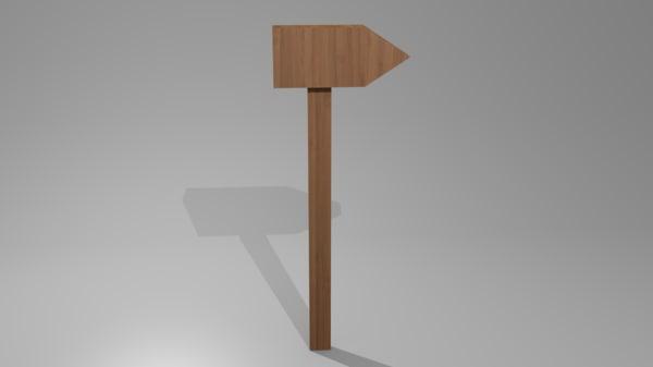 wooden sign 3D model