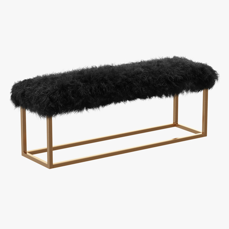wool mabel upholstered bench 3D