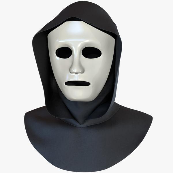 3D white plastic mask black model