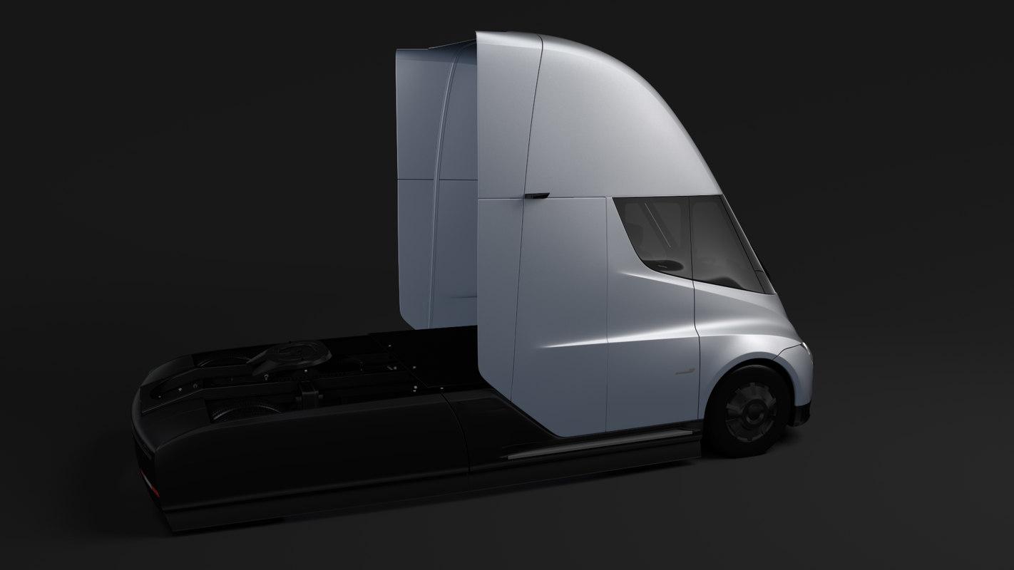3D model tesla semi 2axis 2018