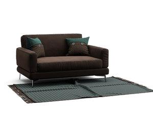 sofa carpet fringes 3D model