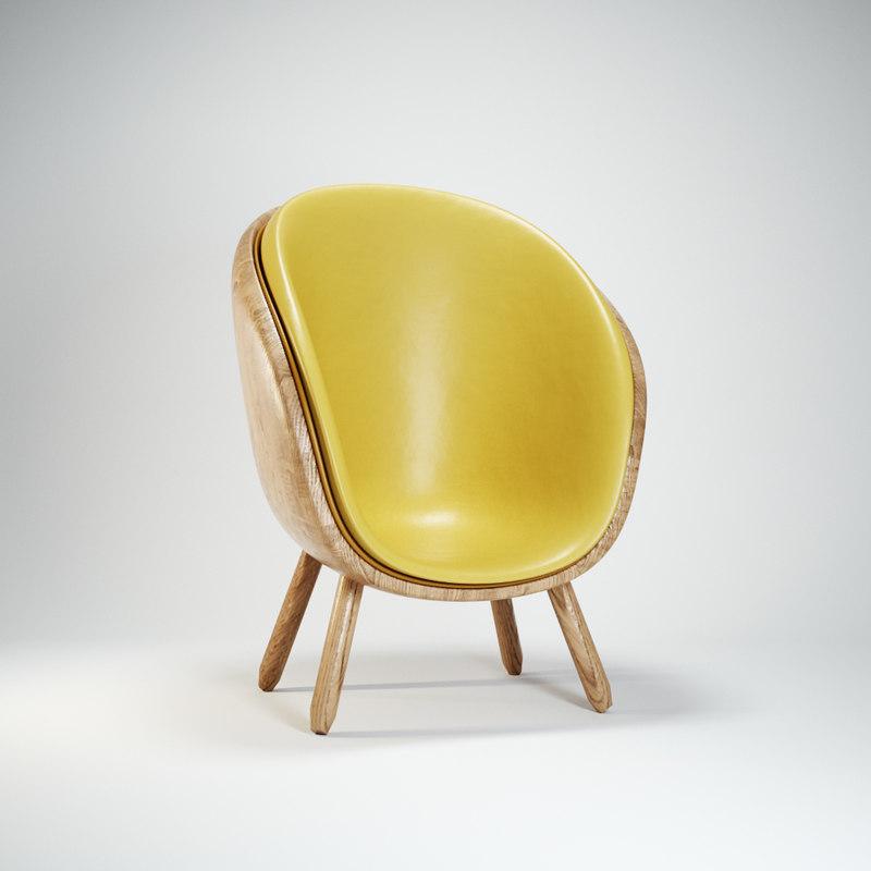 3D model modern scoop egg chair