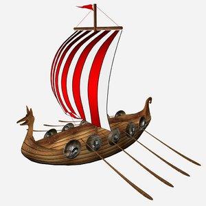 cartoon viking ship 3D model