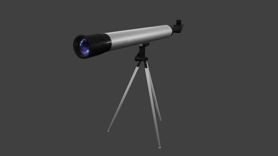 3D model low-poly telescope