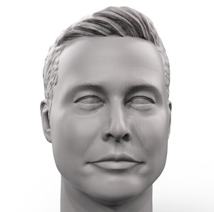 printable portrait elon musk 3D model