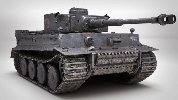 3D tiger 1 tank pbr