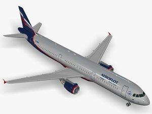 3D airbus aeroflot a321 model