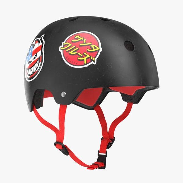 3D skateboard helmet black