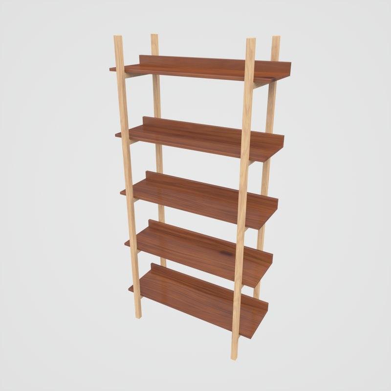 3D model stax walnut bookcase