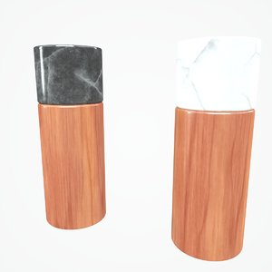 3D salt pepper wooden marble model