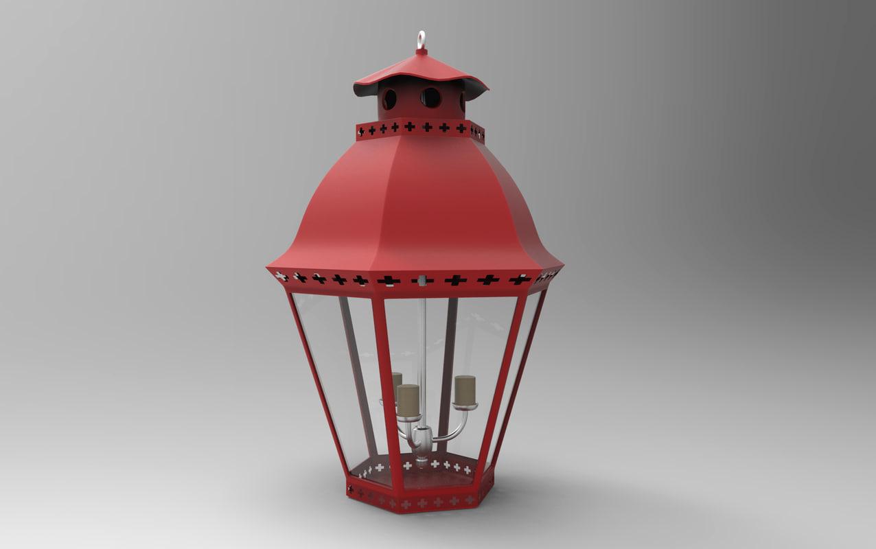 chinese lantern red 3D