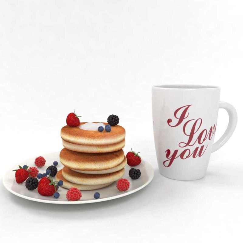 coffee pancakes 3D model