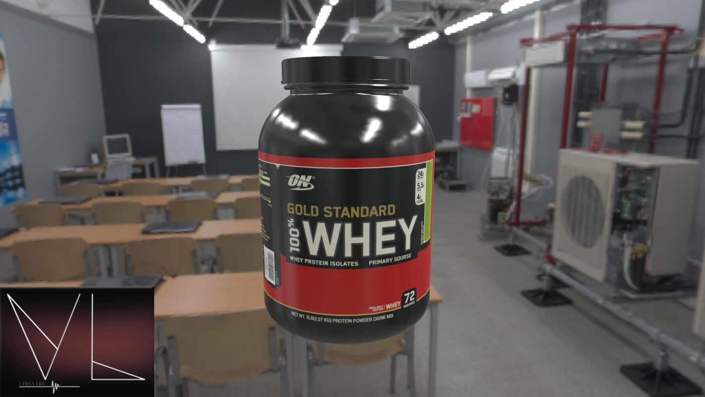 3D whey protein bottle