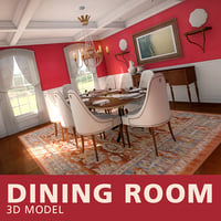 red dining room 3D model