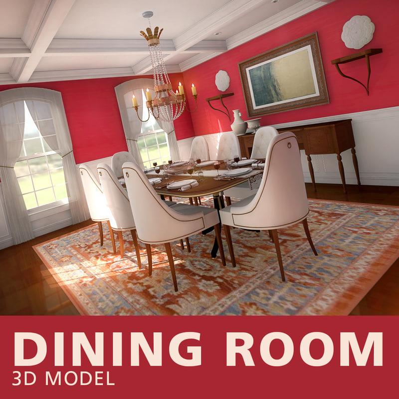red dining room 3D model
