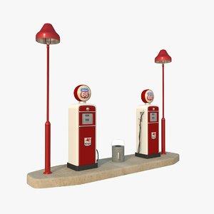 3D vintage petrol station island model