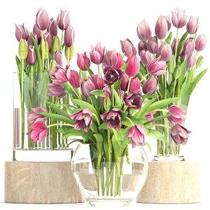 3D bouquet tulips 3 pieces